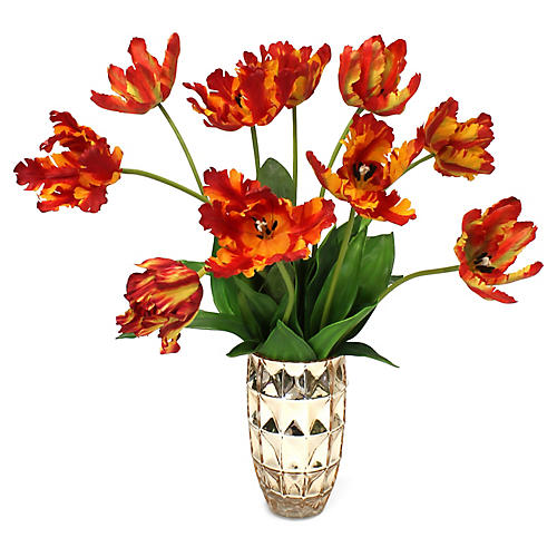 "24"" Parrot Tulips w/ Metallic Vase, Faux"