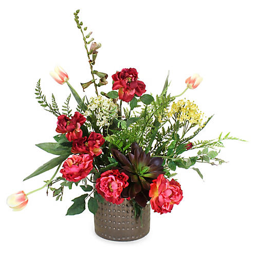 "30"" Wild Rose Mix w/ Textured Vase, Faux"
