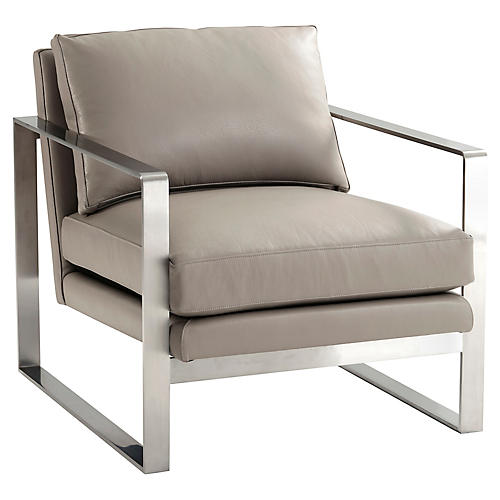 Bower Club Chair, Light Gray Leather