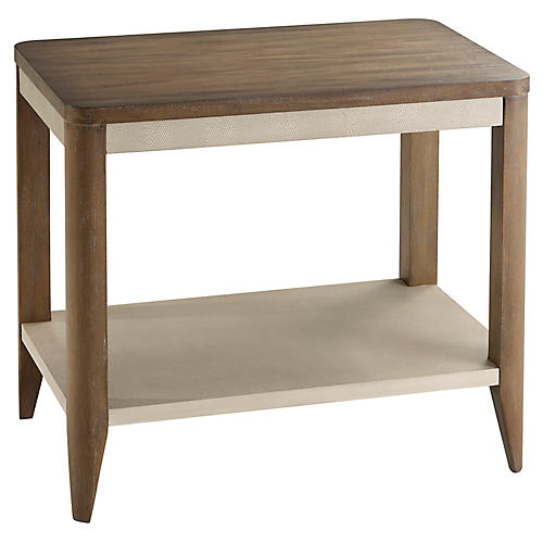 Riley Faux-Shagreen Side Table, Natural
