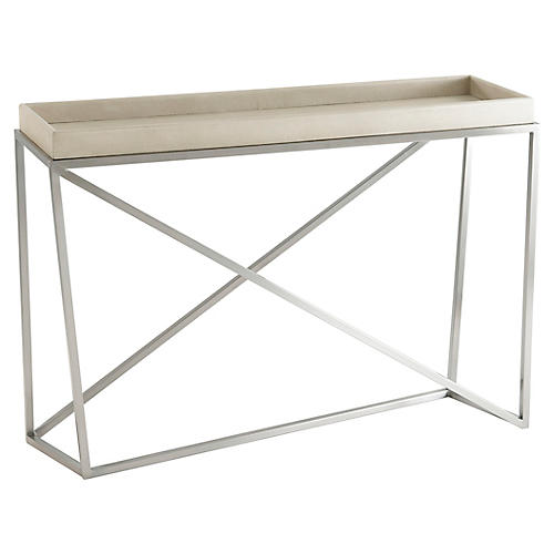 Crazy X Faux-Shagreen Console, Overcast