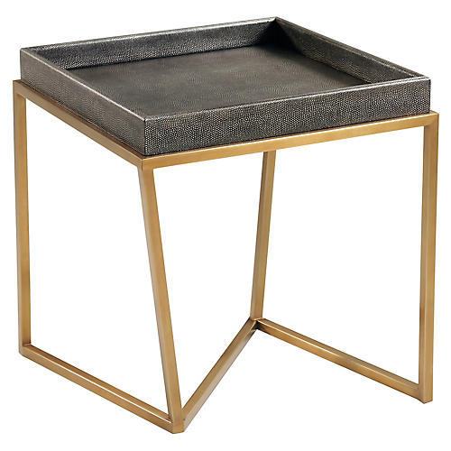 Crazy X Faux-Shagreen Side Table, Java