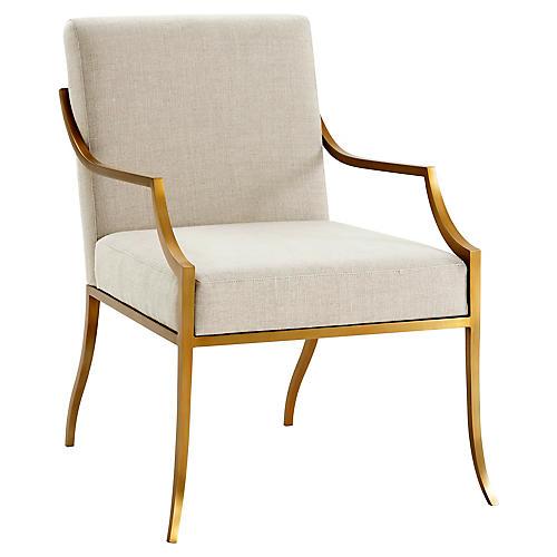 Wakefield Armchair, Brass/Cream