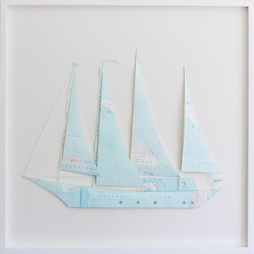 Dawn Wolfe, Nantucket Map Sailboat