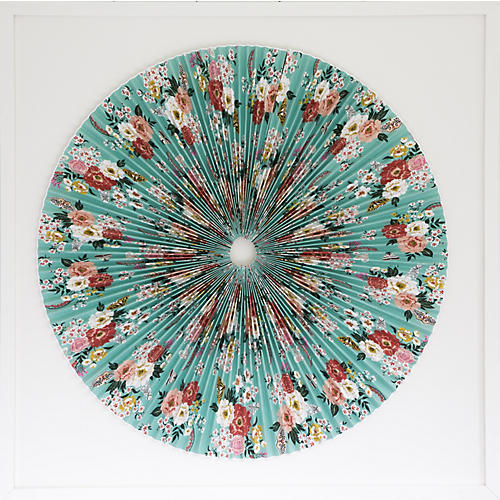 Dawn Wolfe, Green Floral Pleated Circle