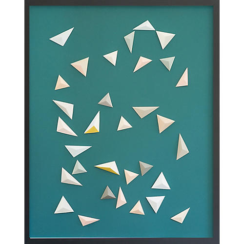 Origami Pastel Triangle Abstract on Teal