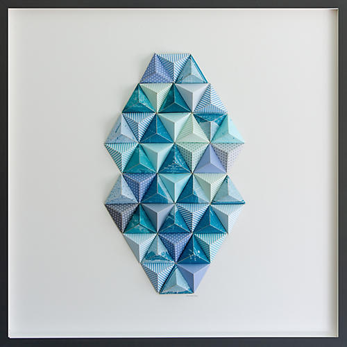 Turquoise Palm Beach Origami Map Collage