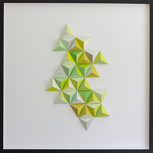 Dawn Wolfe, Neon Green Abstract Origami Collage