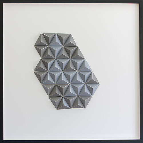 Dawn Wolfe, Steel Gray Abstract Origami Collage