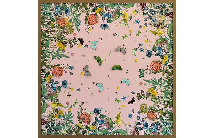 Pink Scarf w/ Dimensional Butterflies