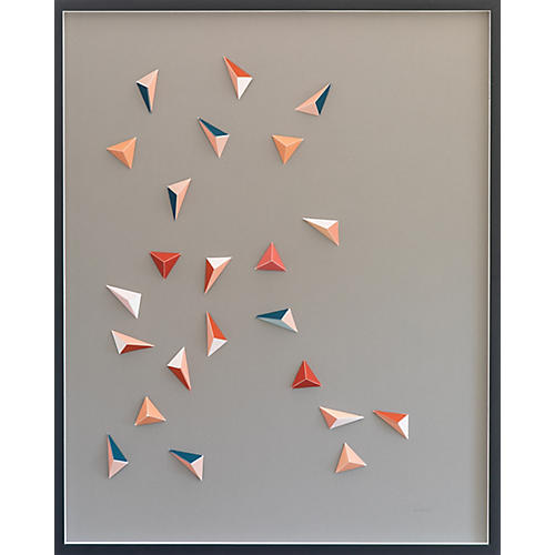 Dawn Wolfe, Pink & Teal Origami Collage