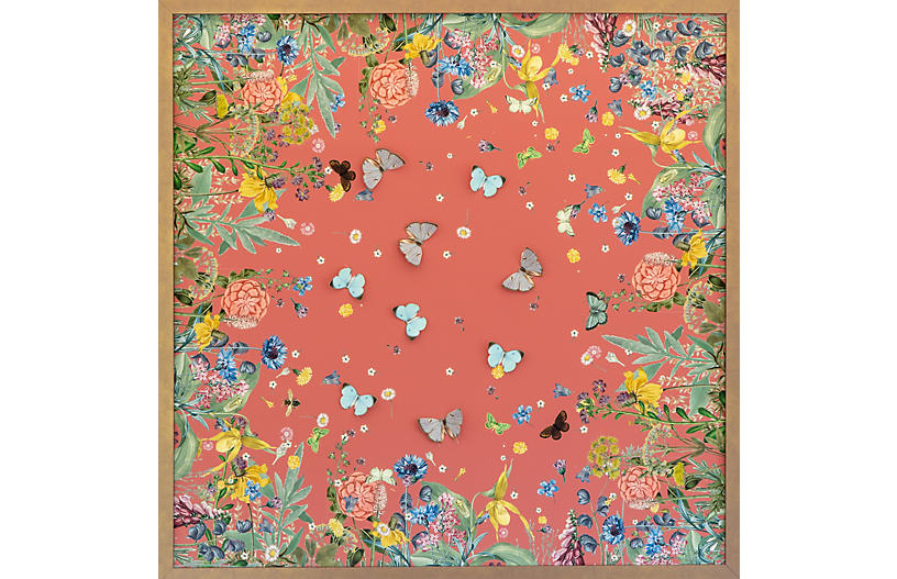 Coral Scarf w/ Dimensional Butterflies