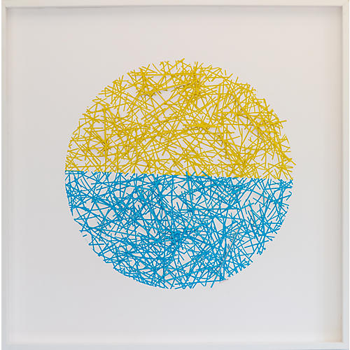Yellow & Aqua Straw Dimensional Circle