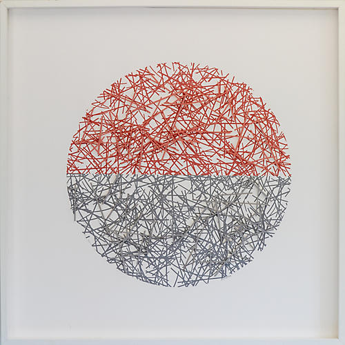 Dawn Wolfe, Pink & Gray Straw Dimensional Circle