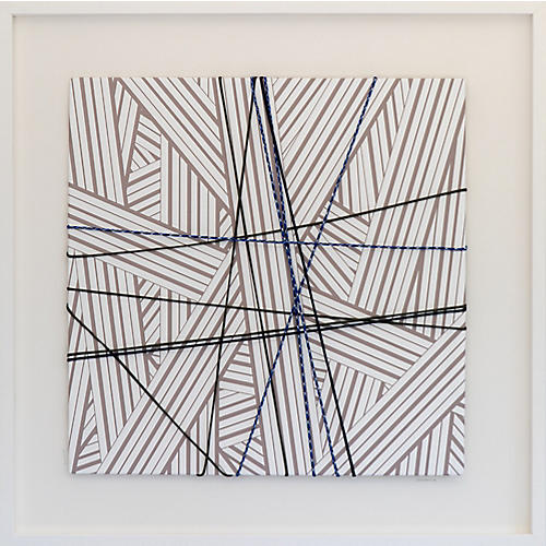 Dawn Wolfe, Wrapped Cord Abstract: Pale Gray