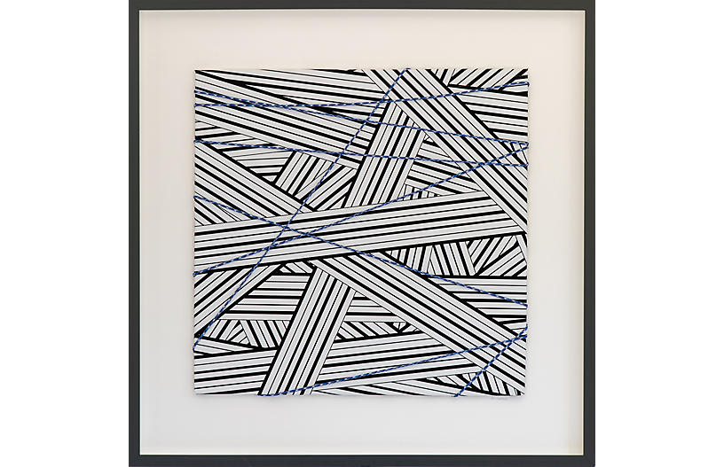 Dawn Wolfe, Wrapped Cord Abstract: Black & Blue