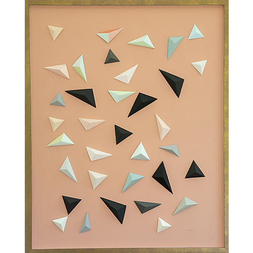 Dawn Wolfe, Origami Triangles on Salmon