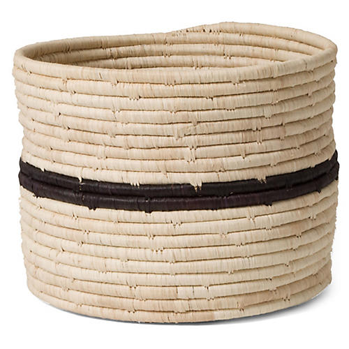 "10"" Sahili Striped Storage Basket, Natural/Black"