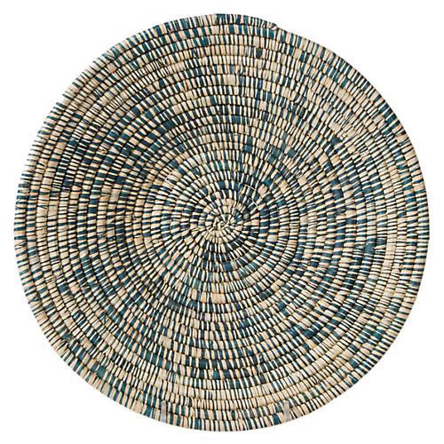 "12"" Majani Wide Decorative Bowl, Heathered Blue"