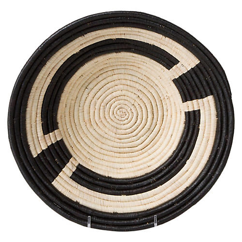 "12"" Kamba Decorative Bowl, Black/Natural"