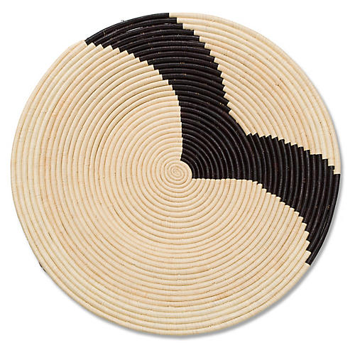 "28"" Nyuni Decorative Tray, Natural/Black"