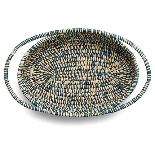 "13"" Upendo Oval Basket, Heathered Blue"
