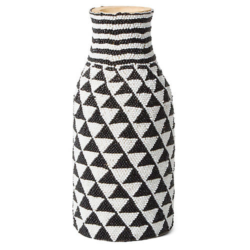 "9"" Blanketi Decorative Vase, Black/White"