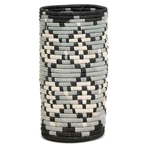 """9"""" Tofali Vase w/ Glass Liner, Gray/Black"""