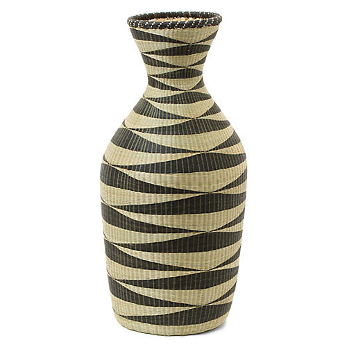 "20"" Wimbi Decorative Floor Vase, Black/Natural"