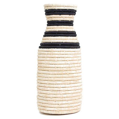 """12"""" Duara Decorative Vase, Natural/Black"""