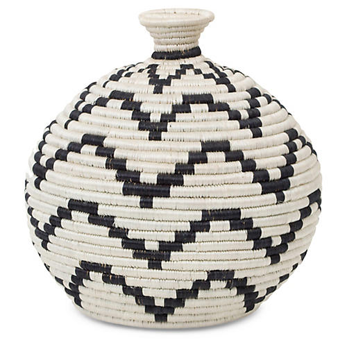 "12"" Wingu Decorative Vase, Black/White"