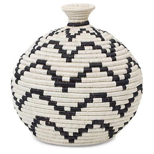 "12"" Wingu Decorative Vase, Black/White"