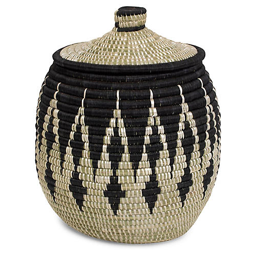 "13"" Mwiba Basket w/ Lid, Black/Natural"