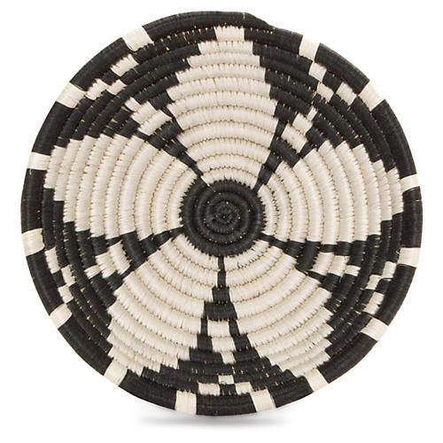 "6"" Usiku Decorative Bowl, Black/White"
