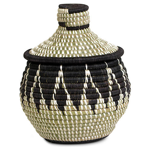 "8"" Alama Basket w/ Lid, Black/Natural"