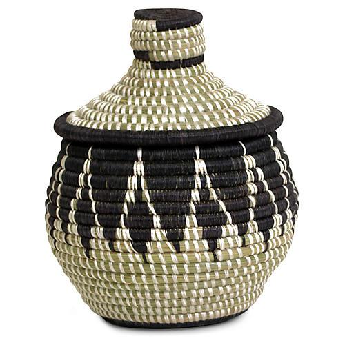 "8"" Alama Basket w/ Lid, Black/Natural"