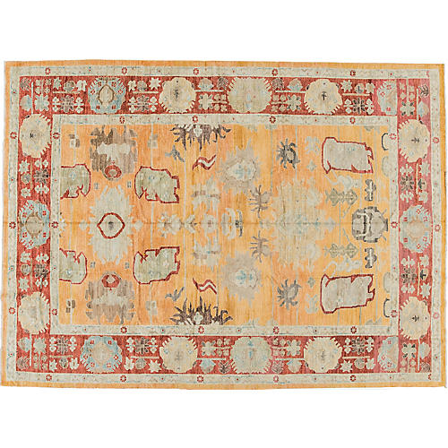 "10'1""x13'9"" Sultanabad Hand-Knotted Rug, Orange"