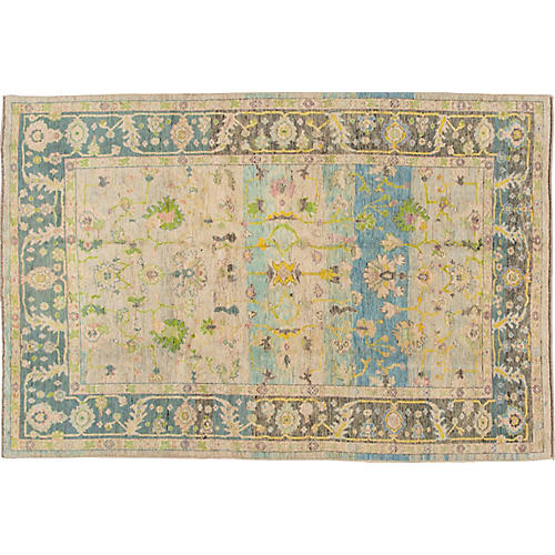 """6'4""""x9'7"""" Oushak Hand-Knotted Rug, Beige"""