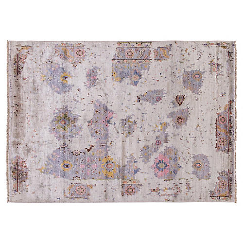 "5'4""x7'5"" Modern Hand-Knotted Rug, Gray"