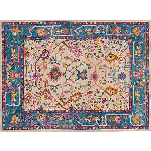 "10'3""x14'1"" Turkish Oushak Rug, Ivory"