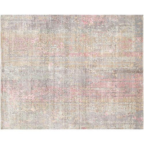 "7'10""x9'11"" Modern Gemstone Rug, Gray/Pink"