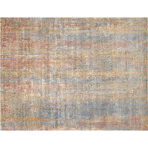 Modern Gemstone Rug, Gray/Orange