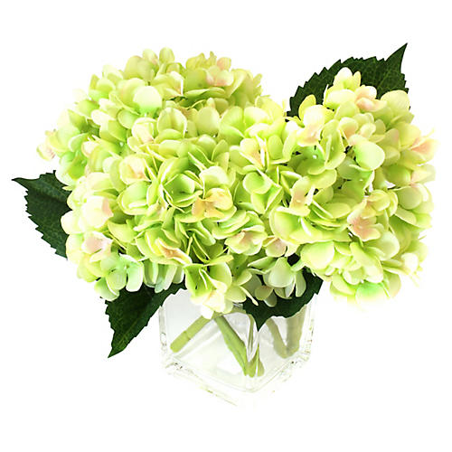 """12"""" Hydrangea Arrangement w/ Cube Vase, Faux"""