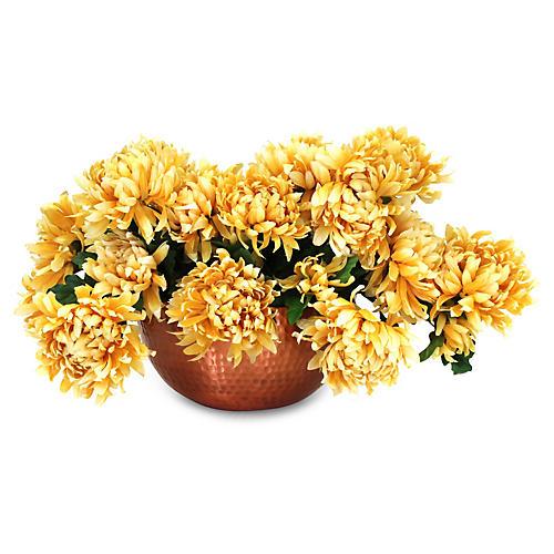 """23"""" Mum Arrangement w/ Bowl Vase, Faux"""