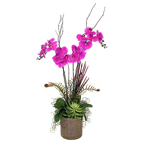 "40"" Fuchsia Orchid Mix w/ Textured Planter, Faux"