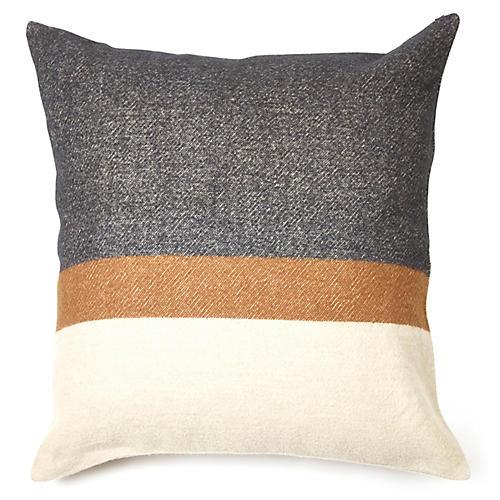 Nash Pillow Cover, Gray/Multi Linen