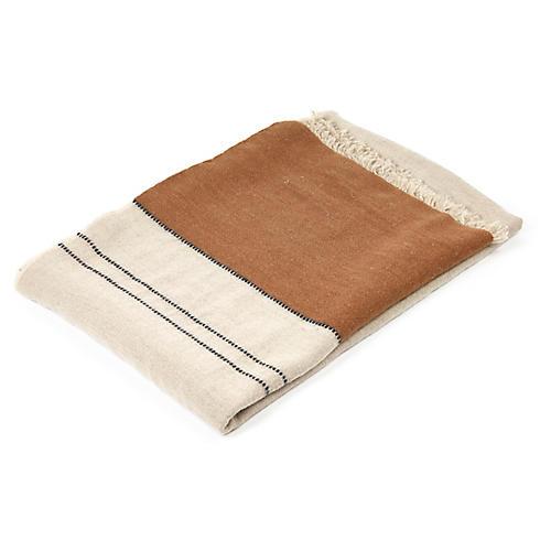Foundry Linen Throw, Beeswax Stripe