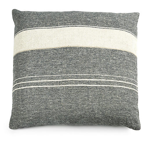 North 25x25 Pillow Cover, Ivory Stripe Linen