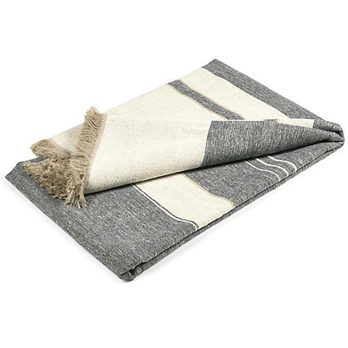 North Linen Throw, Ivory Stripe