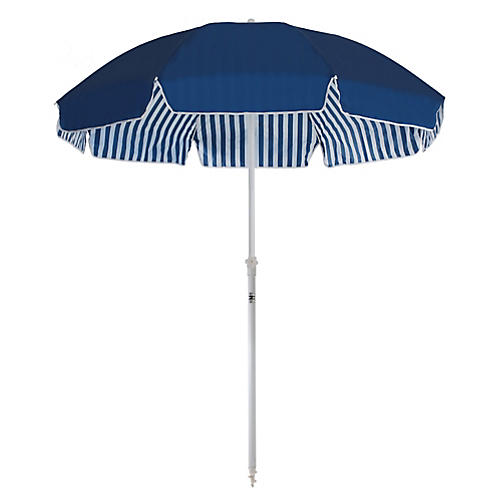 Family Beach Umbrella, Navy/White Stripe